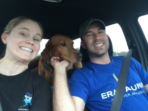 On the road to Sanibel!   Daisy can't wait for the dog beach!