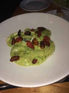 Stacey's Vegetarian Ravioli Genovese from Bella Brava!  Goat cheese, spinach & toasted pine nut ravioli, basil pesto cream, oven dried tomatoes
