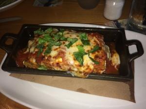 My Trattoria Lasagna from Bella Brava.  Housemade sausage, ricotta, mozzarella, parmesan, asiago, pomodoro sauce