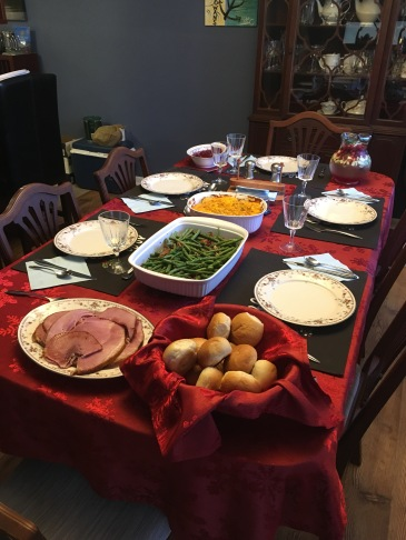 The feast!  This was much easier to prepare than my Thanksgiving menu.  I may have to revamp that to make my life easier!